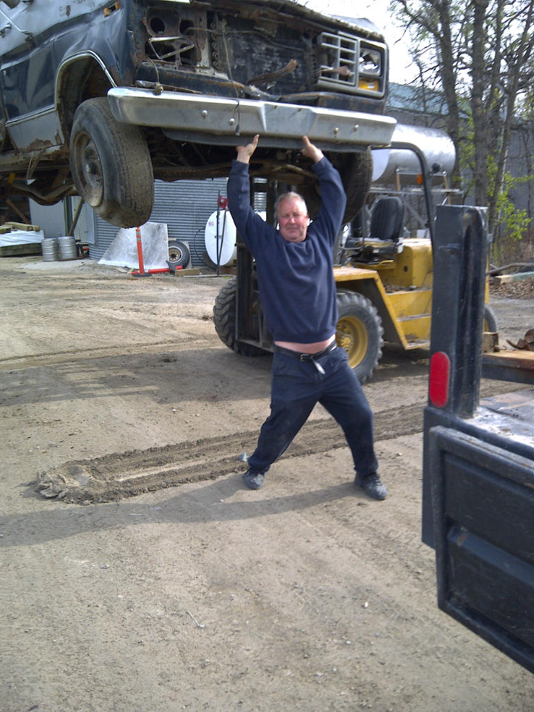 Gerry power lifting a truck